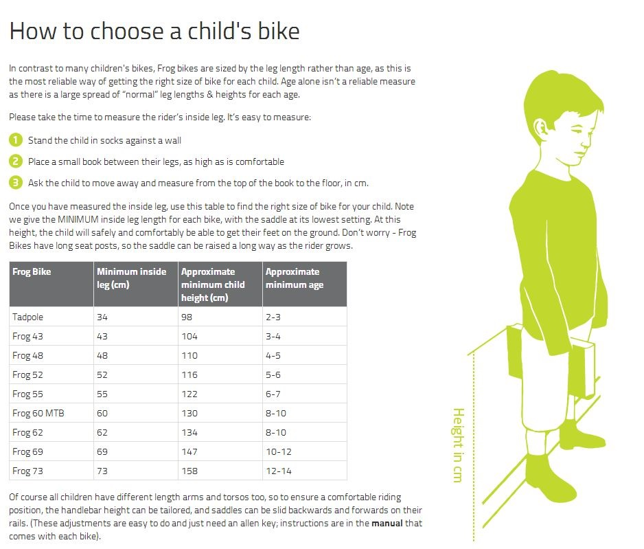 Bike Sizing For Kids Frog bikes