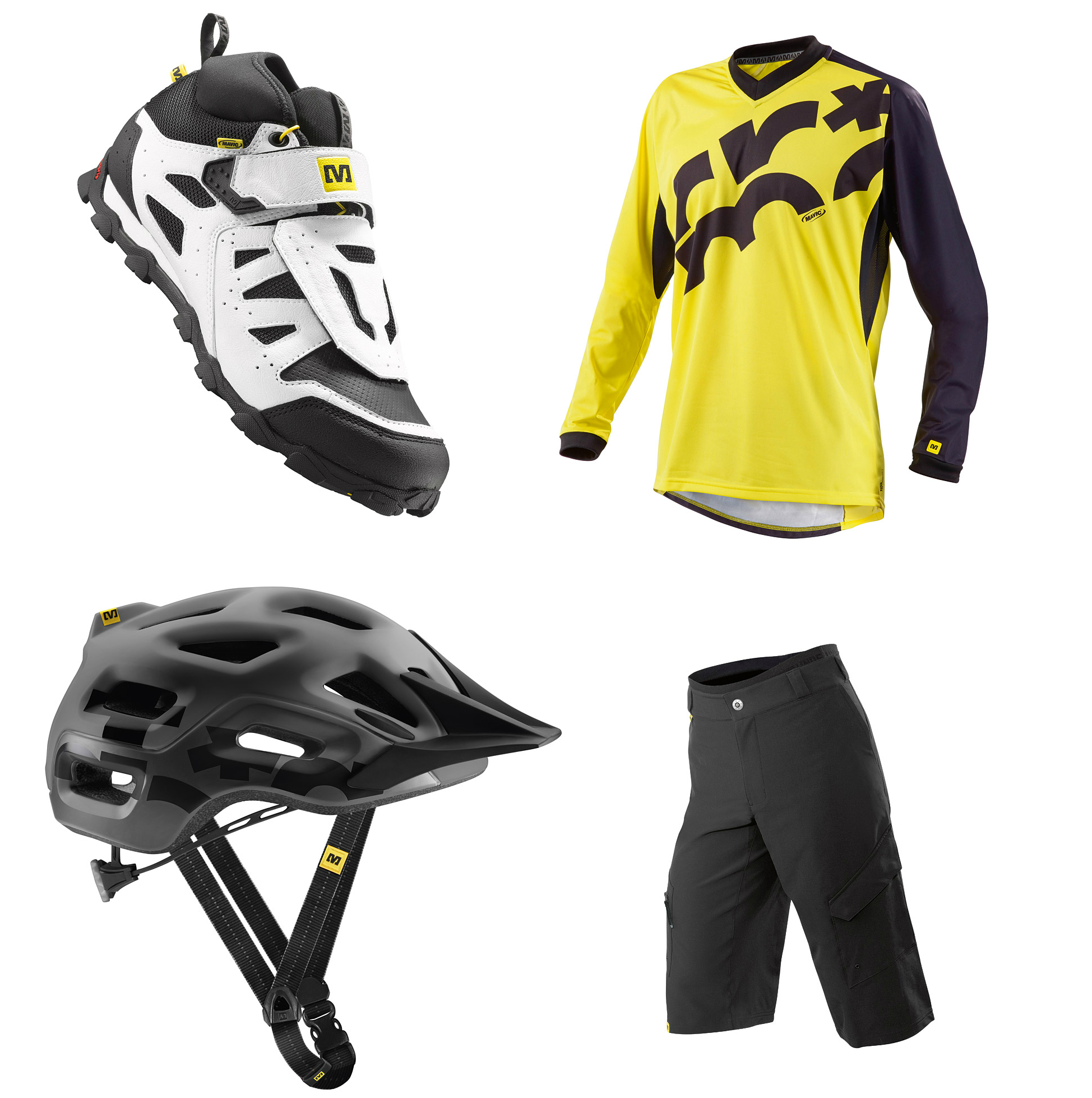Mavic Alpine XL shoe Crossmax jersey Crossmax shorts Notch helmet