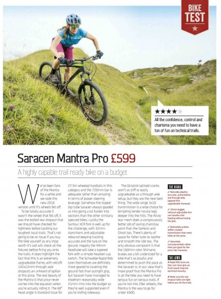 Saracen Mantra Pro What Mountain Bike 2015